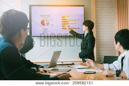 Business People Giving A Presentation In A Boardroom Together.