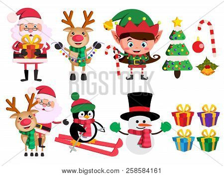 Christmas Characters And Elements Vector Set With Santa Claus, Reindeer, Elf And Snowman Holding Chr
