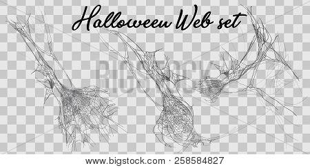 Vector Illustration Halloween Spider Web Isolated On Transparent Background. Hector Venom Cobweb Set