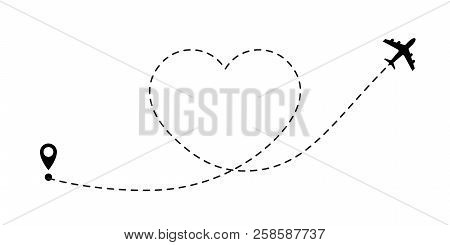 Love Travel Route. Airplane Line Path Vector Icon Of Air Plane Flight Route With Start Point And Das