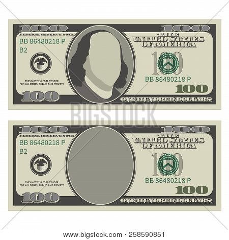 One Hundred Dollar Bill Design Template. 100 Dollars Banknote, Front Side With And Without President