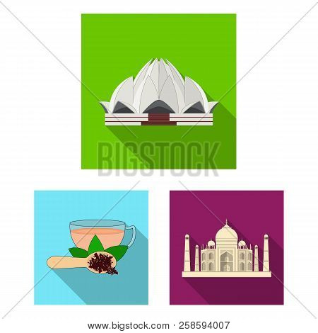 Country India Flat Icons In Set Collection For Design.india And Landmark Vector Symbol Stock Web Ill