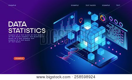 Data Statistics Web Banner. Data Visualization Concept. 3d Isometric Vector Illustration. Page Templ
