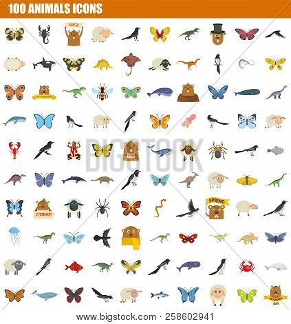 100 Animals Icon Set. Flat Set Of 100 Animals Vector Icons For Web Design