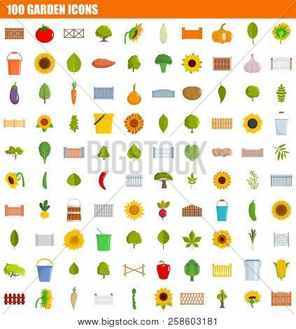 100 Garden Icon Set. Flat Set Of 100 Garden Vector Icons For Web Design