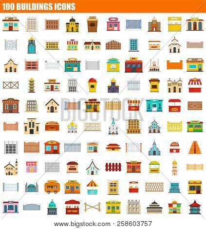 100 Buildings Icon Set. Flat Set Of 100 Buildings Vector Icons For Web Design