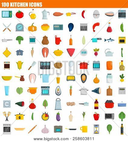 100 Kitchen Icon Set. Flat Set Of 100 Kitchen Vector Icons For Web Design