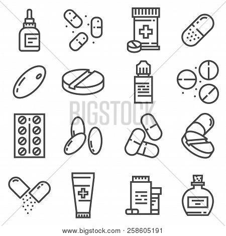 Pills And Capsules Icons Set. Vector Illustration. Pharmacy Symbols. Eyedrops, Antidepressants, Pilu