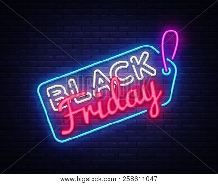 Black Friday Sale Neon Sign Vector. Black Friday Sale Design Template Neon Sign, Light Banner, Neon