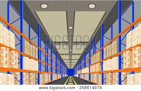 Warehouse Interior With Boxes On Rack Perspective Front Viewpoint. Vector With Flat And Solid Color