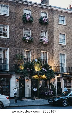 London, Uk - July 26, 2018: People In Front Of The Sherlock Holmes Museum, A Privately Run Museum In