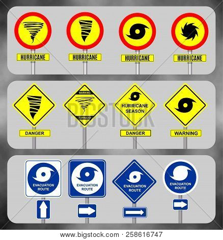 Set Road Sign Hurricane. Yellow Hazard Warning Sign Against Tornado Warning, Bad Weather Warning, Ve