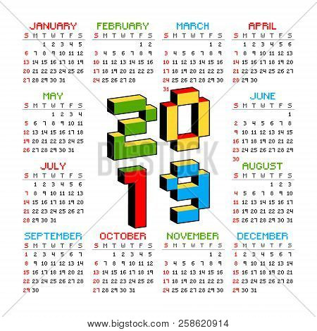 2019 Calendar On A White Background In Style Of Old 8-bit Video Games. Week Starts From Sunday. Vibr
