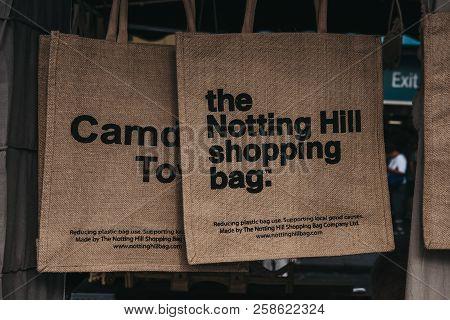 London, Uk - July 21, 2018: Jute Bag By The Notting Hill Shopping Bag Company On Sale At Portobello