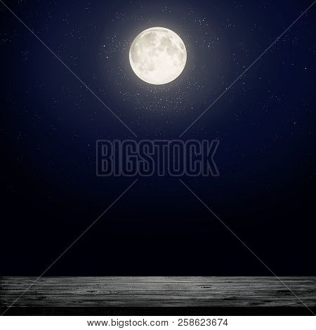 Night Sky With Moon And Stars. Beauty Nature Background. Elements Of This Image Furnished By Nasa