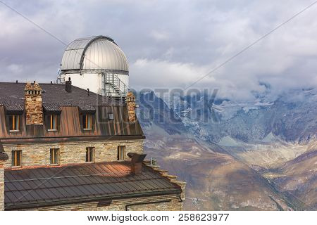 Gornergrat, Switzerland - September 16, 2018: the north observatory cupola on the Kulmhotel building. Two observatory cupolas were mounted on the building by theInternational Foundation High Altitude Research Stations Jungfraujoch and Gornergrat.