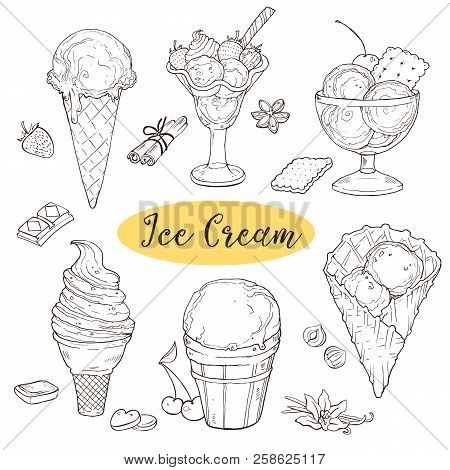 Hand drawn icecream collection. Ice-cream sundae, scoops, waffle cone in line art style. Cool and sweet ice cream sketches isolated on white background. Vector illustration. poster