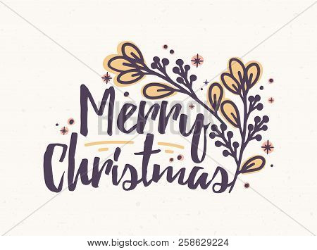 Merry Christmas In Cursive.Merry Christmas Vector Photo Free Trial Bigstock