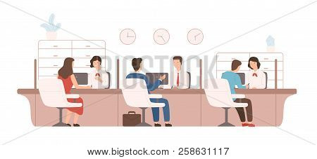 Male And Female Clients Sitting And Talking To Managers Or Analysts Of Credit Department. Bank Worke