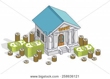 Banking Theme Cartoon, Bank Building With Dollars And Coin Stack Isolated Over White Background. Iso