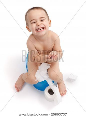 Happy Little Boy Sitting On Potty