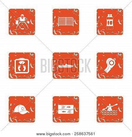 Competitive Icons Set. Grunge Set Of 9 Competitive Icons For Web Isolated On White Background