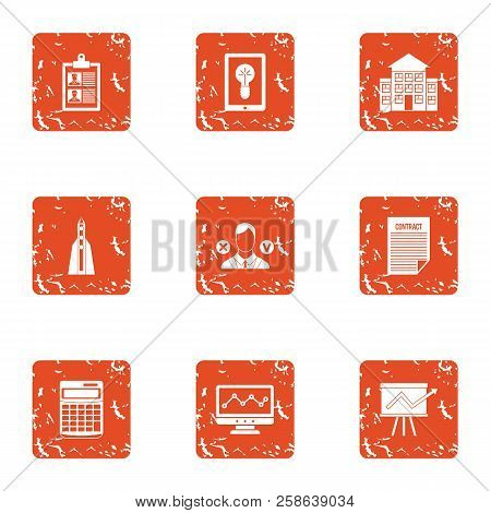 School Progress Icons Set. Grunge Set Of 9 School Progress Icons For Web Isolated On White Backgroun