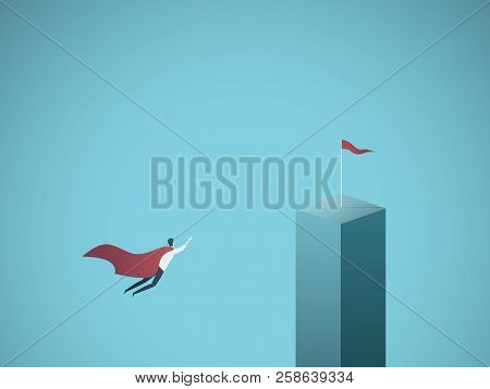 Business Objective And Leadership Vector Concept. Businessman Superhero Flying Towards His Goal, Mis