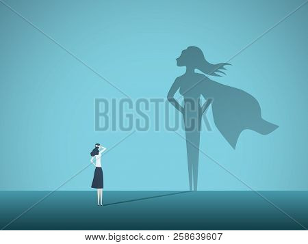 Businesswoman with superhero shadow vector concept. Business symbol of emancipation, ambition, success, motivation, leadership, courage and challenge. poster