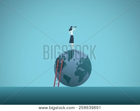 Business Woman Vision Vector Concept. Busineswoman Standing On Top Of The World. Symbol Of Visionary