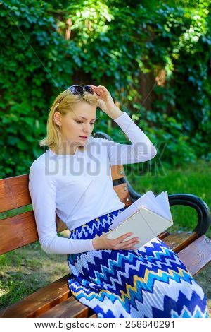 Favourite Book. Woman Blonde Take Break Relaxing In Park Reading Book. Girl Sit Bench Relaxing With