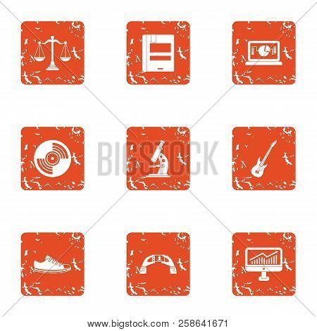 Scientific Workshop Icons Set. Grunge Set Of 9 Scientific Workshop Icons For Web Isolated On White B