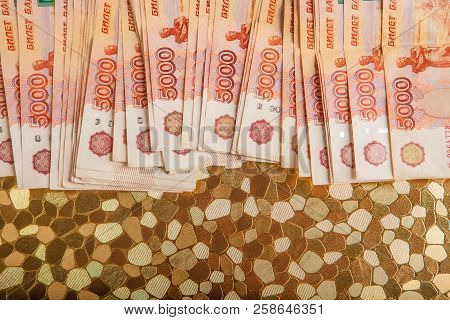 Russian money 5000 rubles banknote closeup macro, win concept of russia rouble money close up. poster