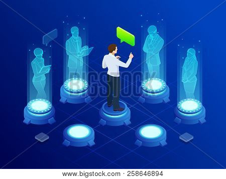 Isometric Man Communicates With Abstract Futuristic Screen Holograms. Business Conference. The Conce