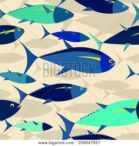 Tuna Shoal In The Sea Seamless Pattern