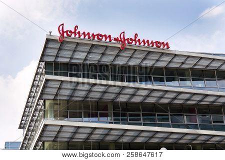 Prague, Czech Republic - May 12 2018: Johnson & Johnson Company Logo On Headquarters Building On May