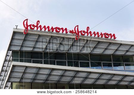 Prague, Czech Republic - May 12 2018: Johnson & Johnson Company Logo On Headquarters Building On May