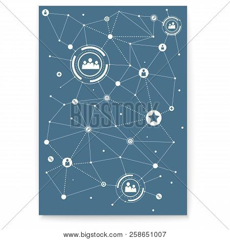 Concept Of Cover. Social Media Network. Communication Technology, Engineering Of Social Networking.