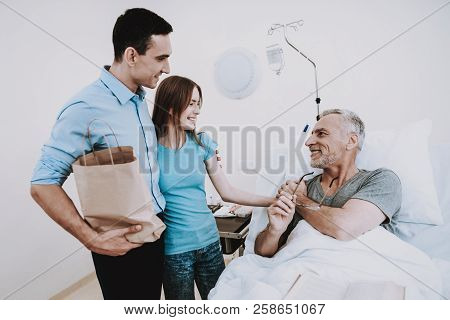 Body In Clinic With Man. Smile With People In Hospital. Rehab In Clinic With Girl. Happy People In W