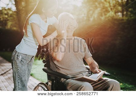 The Home Where Family For Old Man. Interior With Nature. Life With Family And Nature. Mature Man Wal