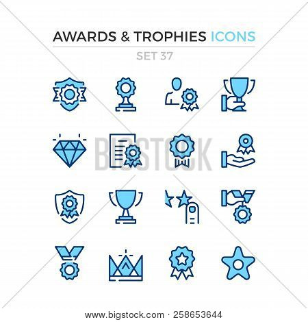 Awards And Trophies Icons. Vector Line Icons Set. Premium Quality. Simple Thin Line Design. Modern O
