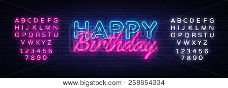 Happy Birthday Neon Sign Vector. Happy Birthday Design Template Neon Sign, Light Banner, Neon Signbo