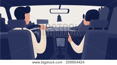 Pair Of People Sitting On Front Seats Of Car Moving Along Highway. Automobile Driver And Passenger,