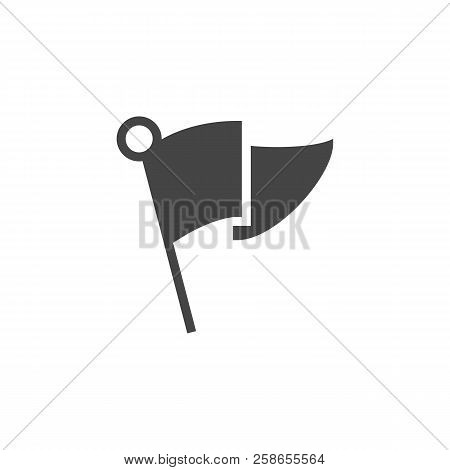 Flag Black Flat Icon. Abstract Small Flag For Indicating Location, Mark In Gps, Pointer For Travel N