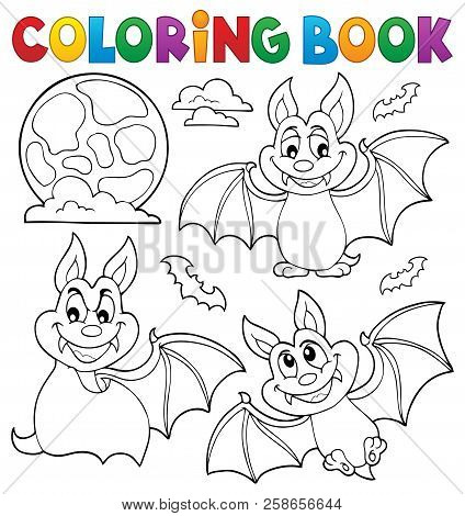 Coloring Book Bats Theme Collection 1 - Eps10 Vector Picture Illustration.