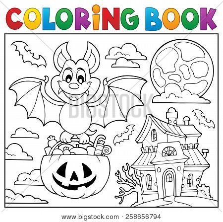 Coloring Book Halloween Bat Theme 2 - Eps10 Vector Picture Illustration.