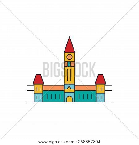 Parliament Hill Icon. Cartoon Parliament Hill Vector Icon For Web Design Isolated On White Backgroun