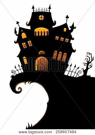 Halloween House Silhouette Theme 1 - Eps10 Vector Picture Illustration.