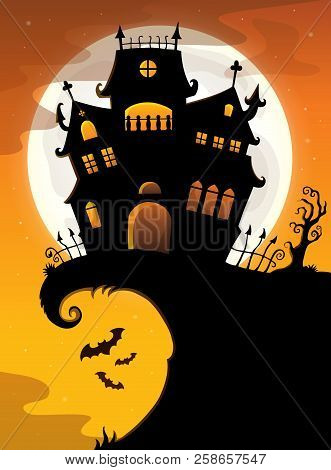 Halloween House Silhouette Theme 2 - Eps10 Vector Picture Illustration.