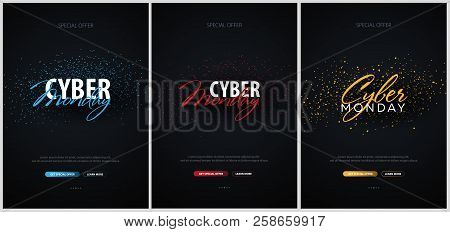 Set Of Cyber Monday Sale Calligraphic Banners. Vector Illustration